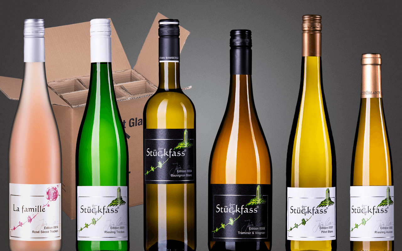 "Probierbox 6er ""JTC Stückfass Weißweine mit Secco Rosé"" (Abholpreis)"
