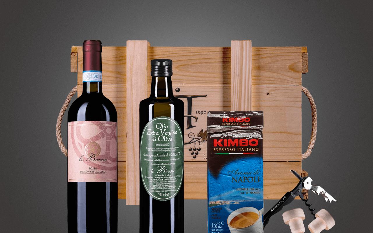 "JTC 3er Holzkiste ""Italienreise mit kaltgepresstem Olivenöl"" als Präsent verpackt (Abholpreis Vinothek)"