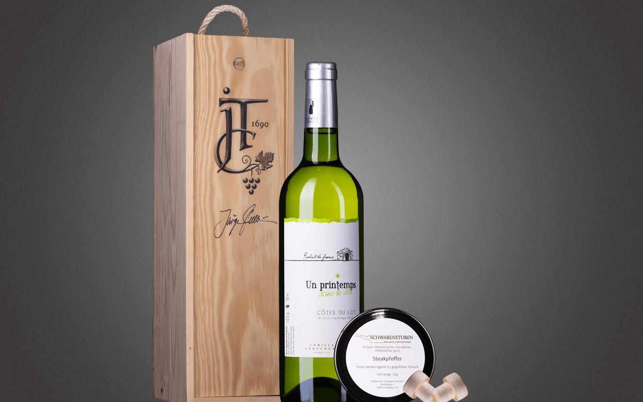 "JTC 1er Holzkiste ""Weißer Cahors mit Steakpfeffer"" als Präsent verpackt (Abholpreis Vinothek)"