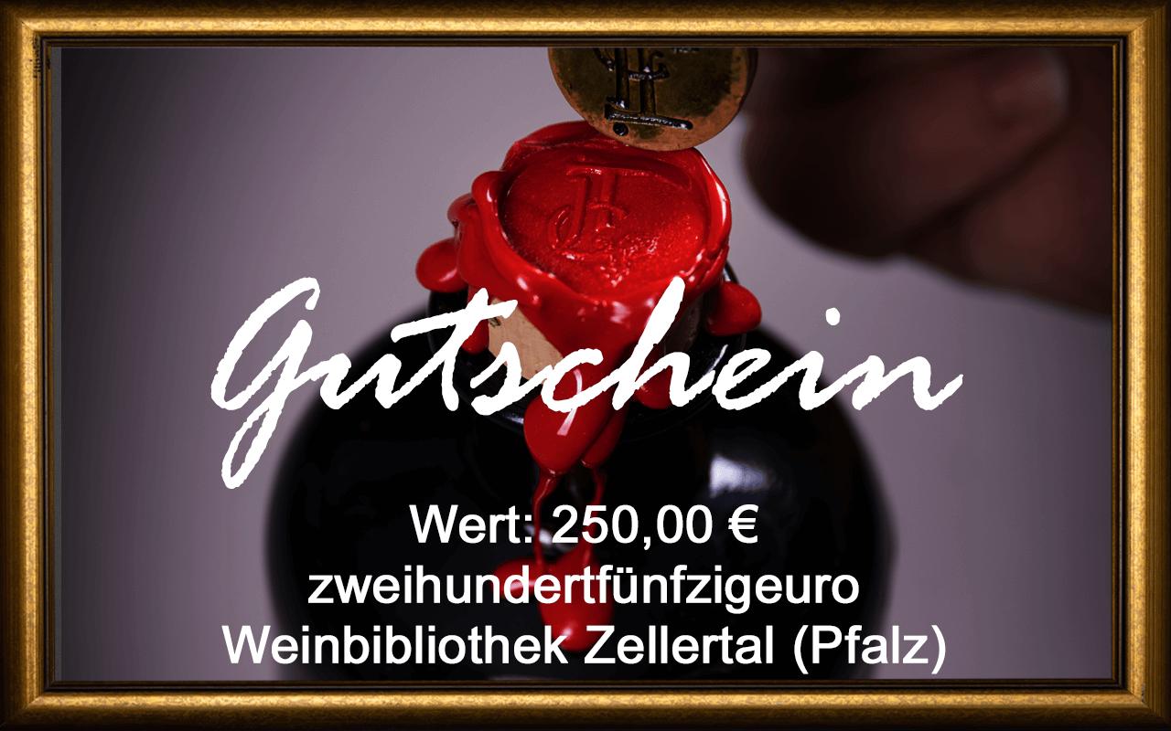 Wein-Gutschein 250,00 € Weinbibliothek Zellertal (Pfalz) Sommelier Jürgen Tullius