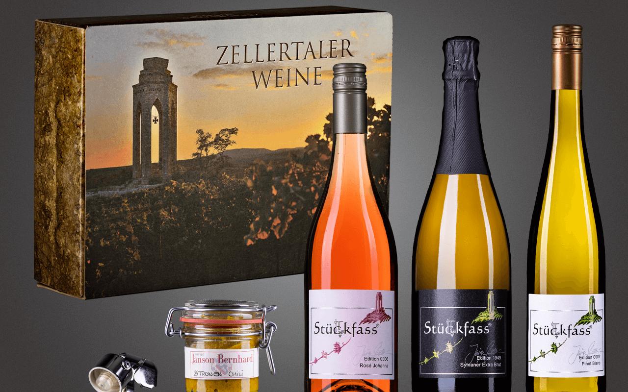 """JTC Zellertal-Genießerbox """"Sylvaner Sekt, Pinot, Rosé und Zitronen-Chilli"""" Präsent zum Abholpreis"""