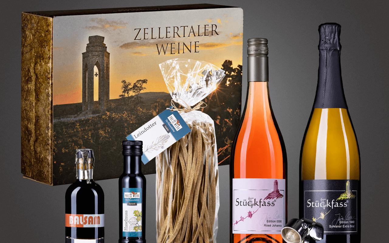 """JTC Zellertal-Genießerbox """"Haselnusöl, Bio-Essig, Nudeln, Sylvaner Sekt und Rosé"""" Präsent zum Abholpreis"""
