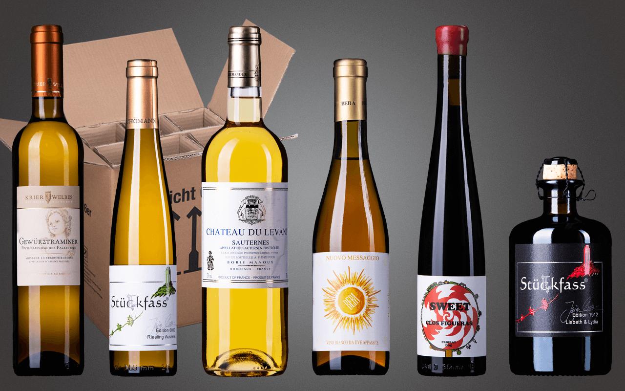 """Probierbox 6er """"Feine Süssweine Europas mit Sauternes & Co."""" (Abholpreis)"""