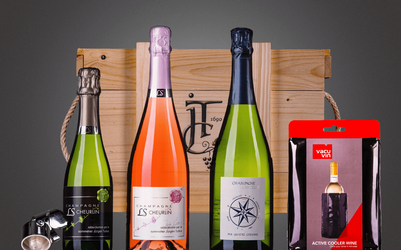 "JTC 3er Holzkiste ""Tour de Champagne mit Grand Cru Millésime"" Neustart-Angebot! (Abholpreis Vinothek)"