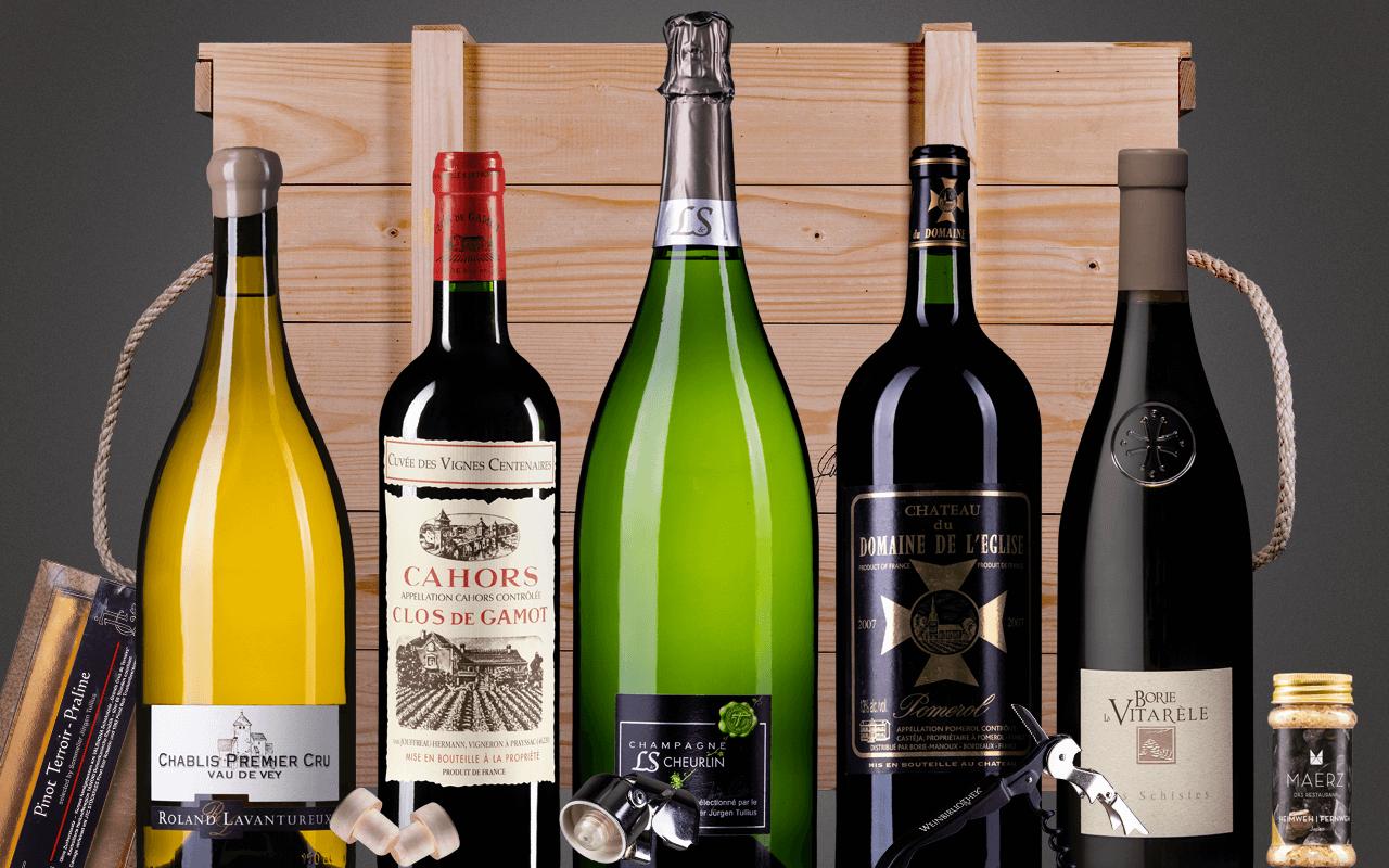 "JTC 5er Magnumkiste ""Frankreichreise mit JTC Champagner Doppelmagnum"" (Abholpreis Vinothek)"