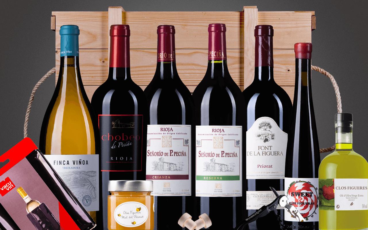 """JTC 6er Magnumkiste """"Spanien big bottles mit Priorat Rotwein"""" als Präsent verpackt (Abholpreis Vinothek)"""