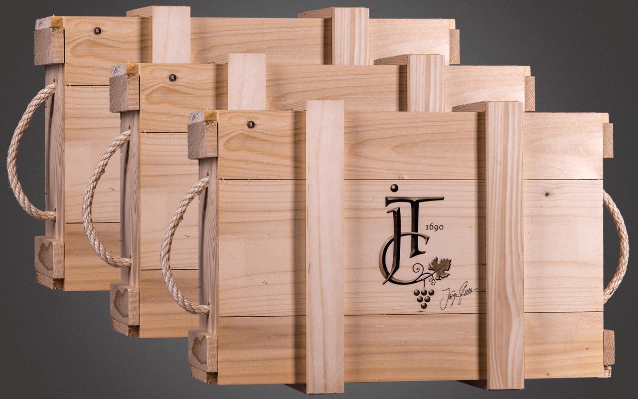 JTC Dreierset unbefüllte 3er Holzkiste - inklusive Holzwolle und Deckel mit Sommelier-Logo