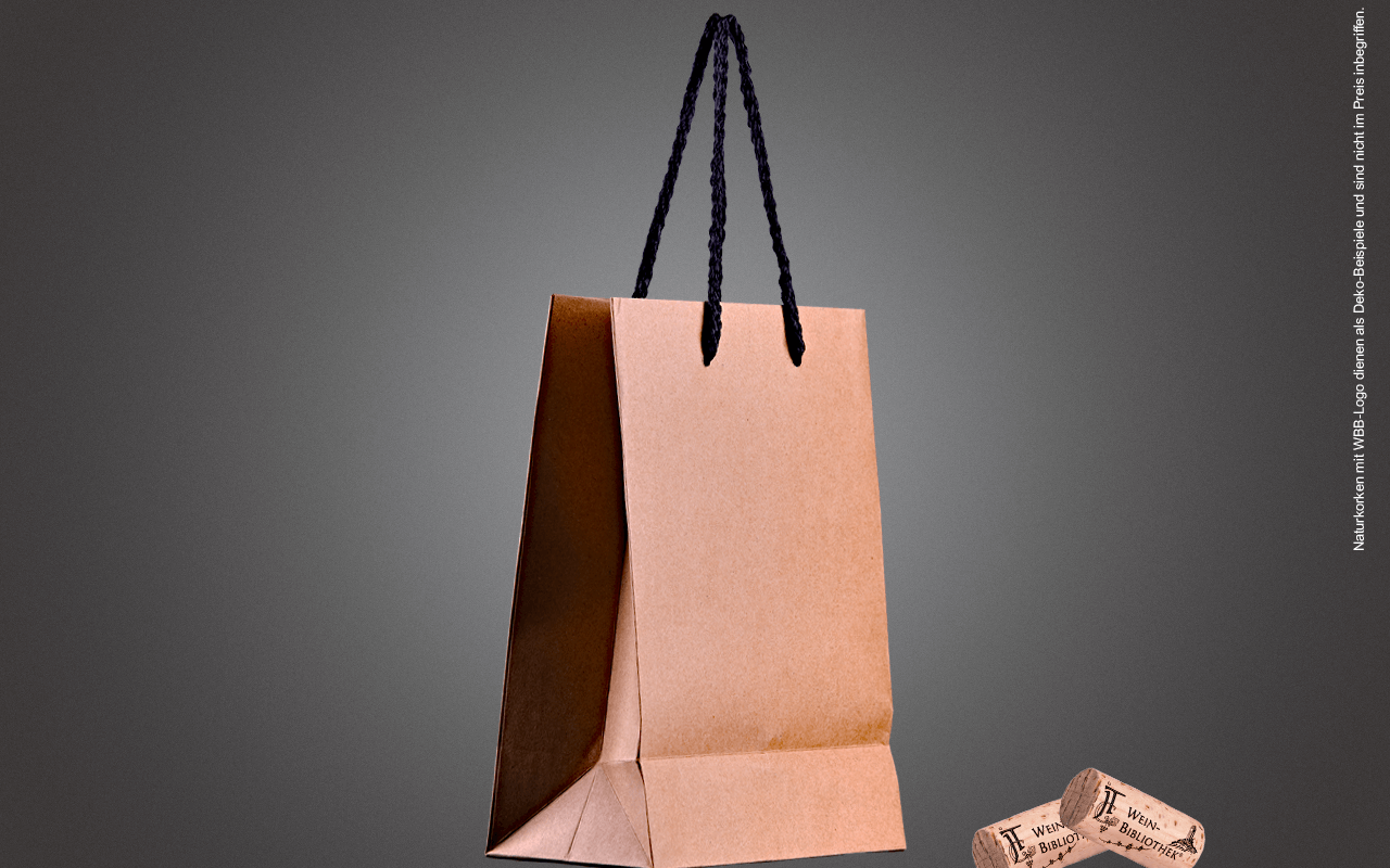 JTC Mini Präsenttasche solo - für Delikatessen - aus stabilem Naturkraftpapier mit schwarzen Seilgriffen