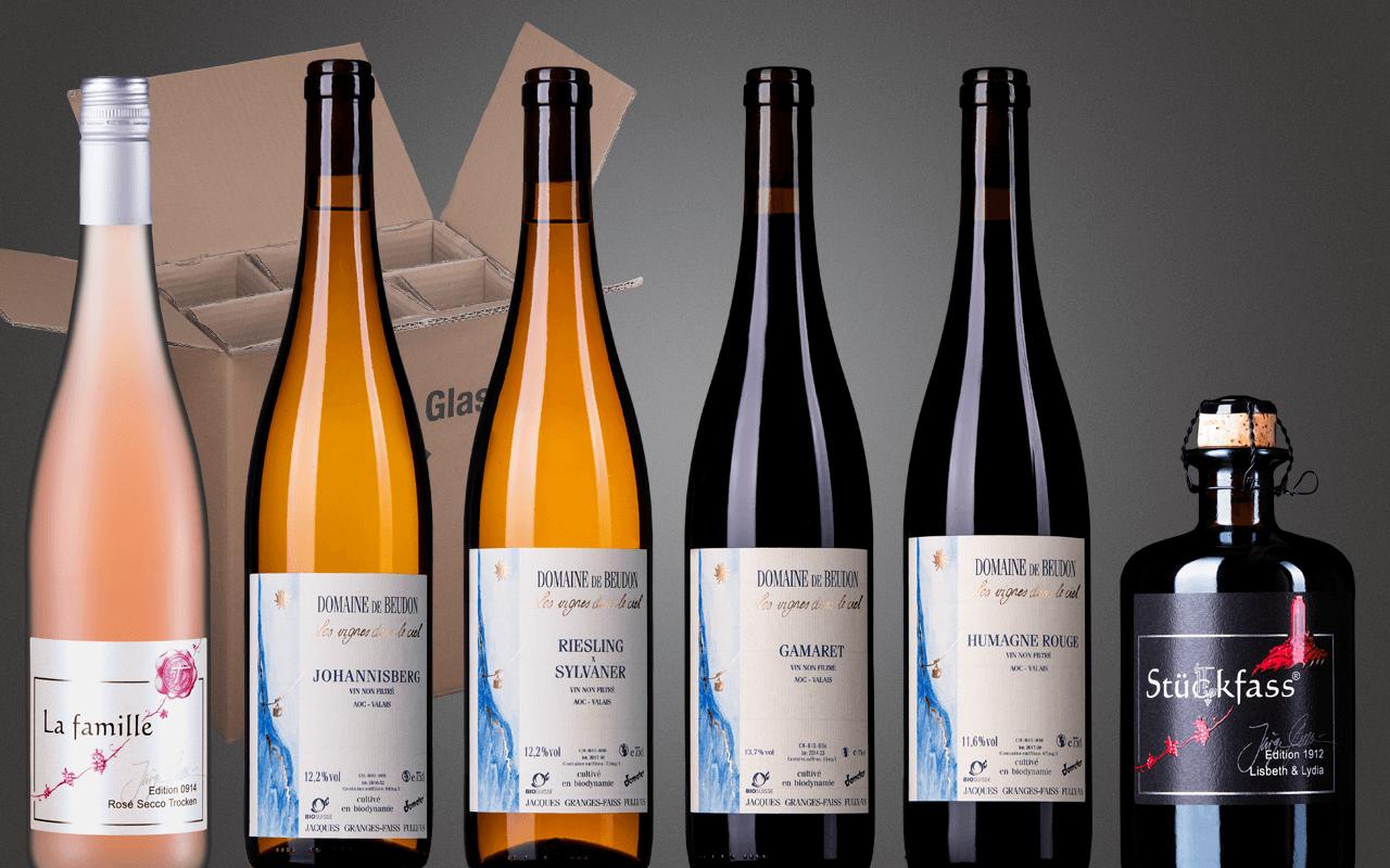 """Probierbox 6er """"Schweizer Demeter-Gletscherweine mit Likörwein"""" (Abholpreis)"""