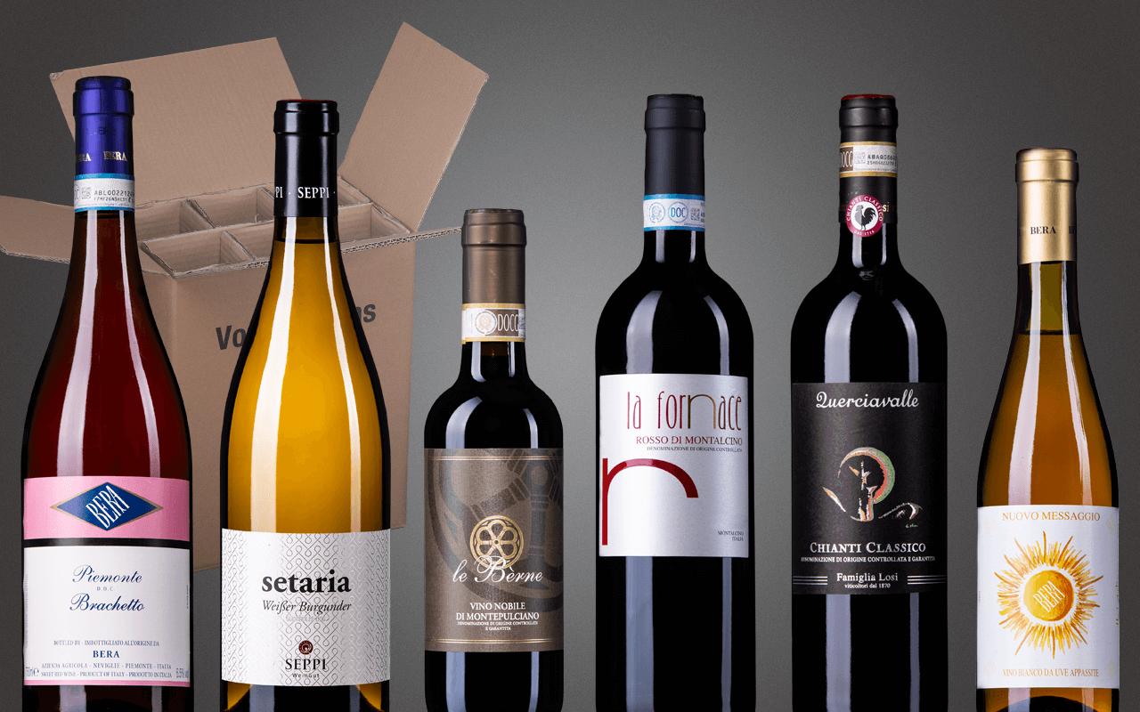"""Probierbox 6er """"Italien-Rundreise - Excellentes von Südtirol bis Piemont"""" (Abholpreis)"""