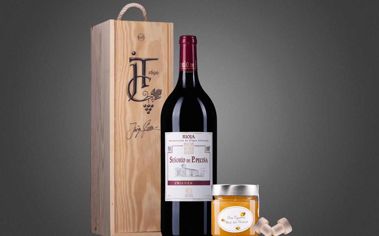 """JTC 1er Magnum-Holzkiste """"Rioja Crianza Rotwein mit Honig"""" als Präsent verpackt (Abholpreis Vinothek)"""