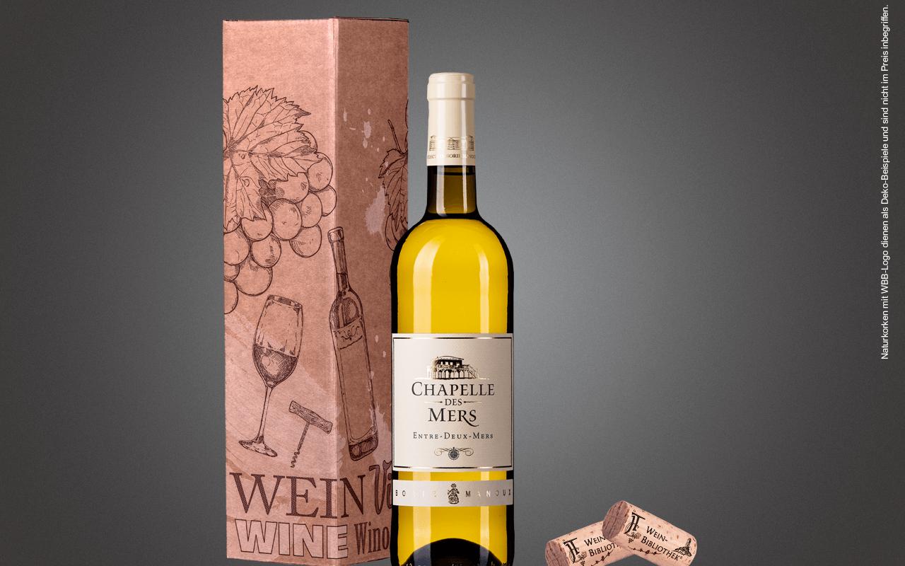 "JTC 1er Karton ""Weißer Bordeaux Entre deux Mers"" als Präsent verpackt (Abholpreis Vinothek)"