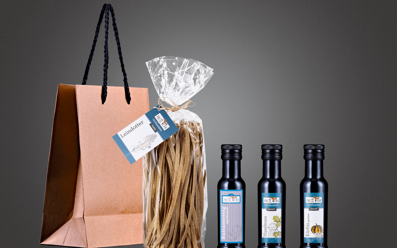 """JTC Minitasche """"Michaela's Öle, Essig und Nudeln aus dem Zellertal"""" Präsent zum Abholpreis"""