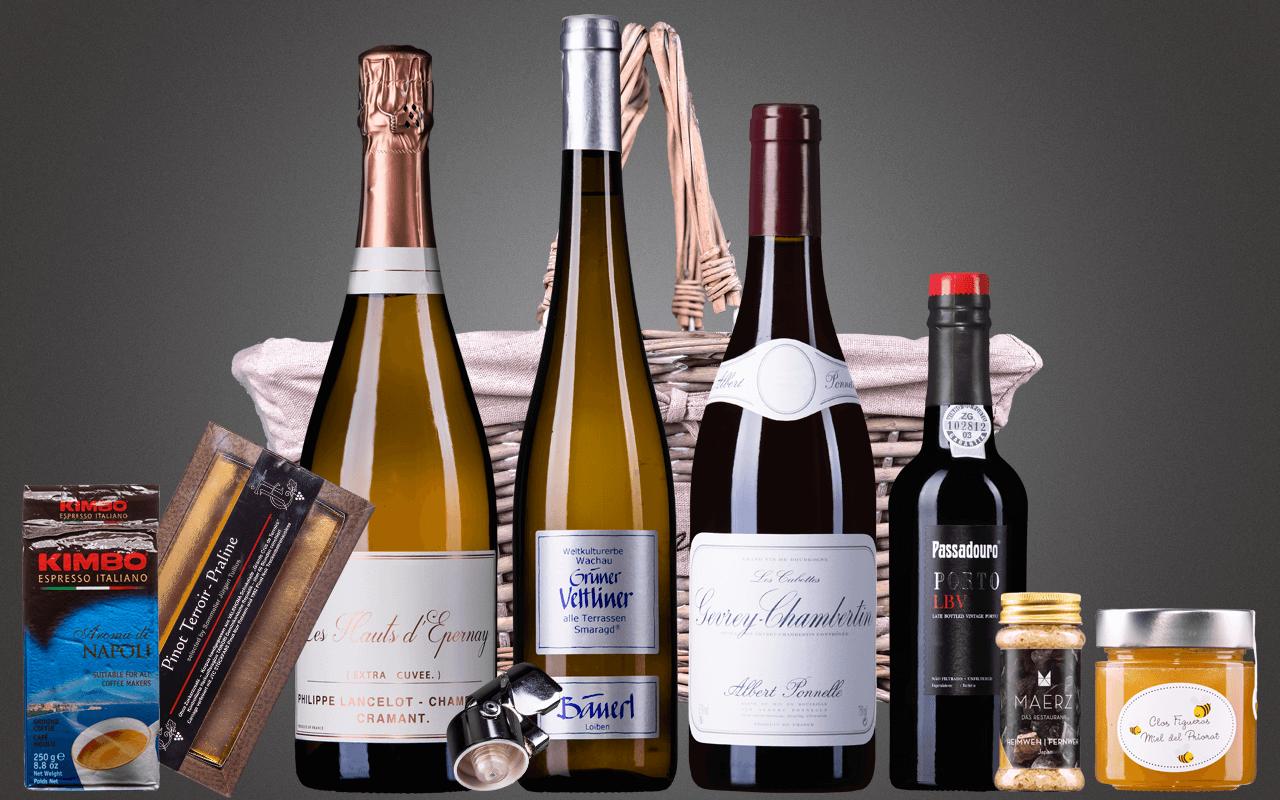 """Präsentkorb """"Weinbibliothek best of für Enthusiasten"""" (Abholpreis Vinothek)"""