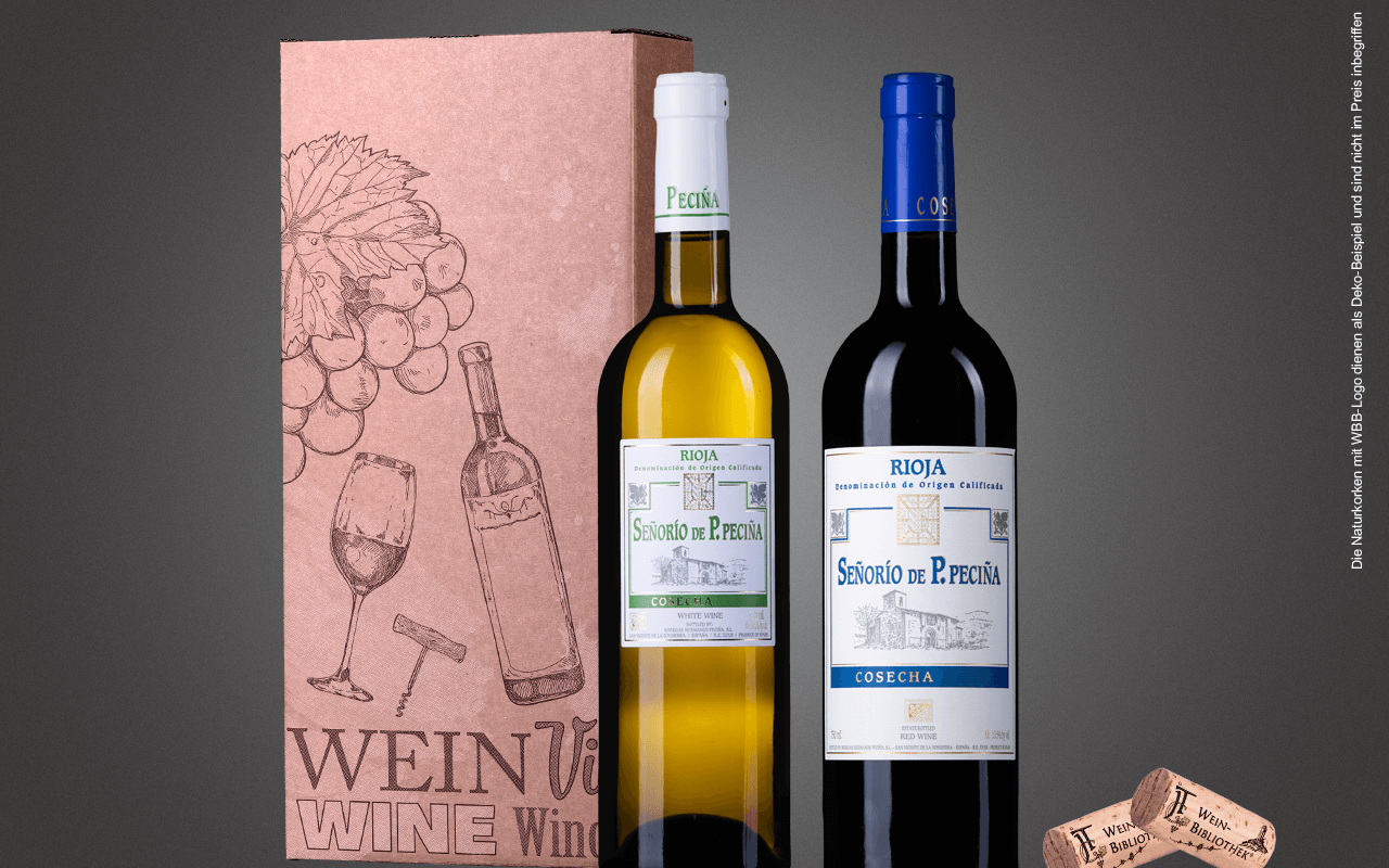 "JTC 2er Karton ""Rioja Weiß trifft Rioja Rot"" als Präsent verpackt (Abholpreis)"