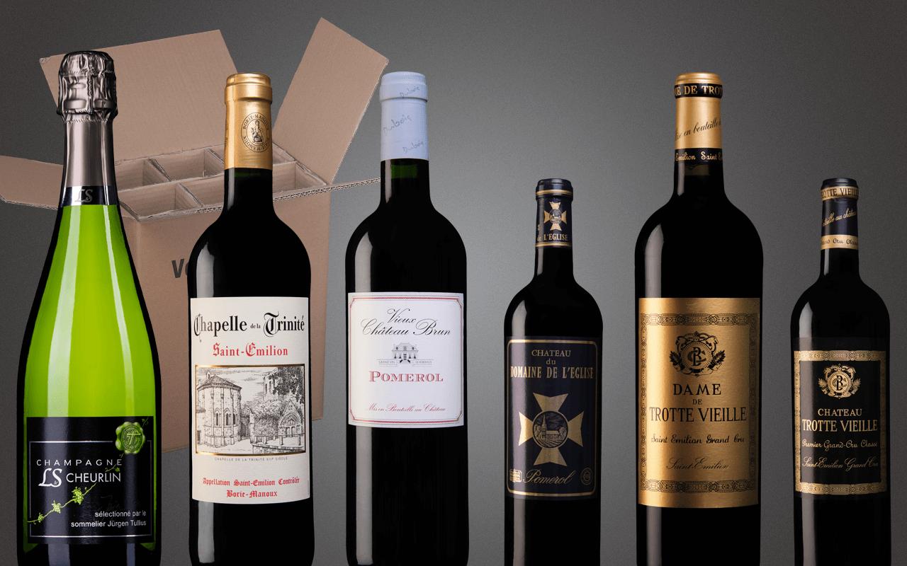 """Probierbox 6er """"Rechtes Ufer Bordeaux - Bestes von Saint Èmilion bis Pomerol"""" (Abholpreis)"""