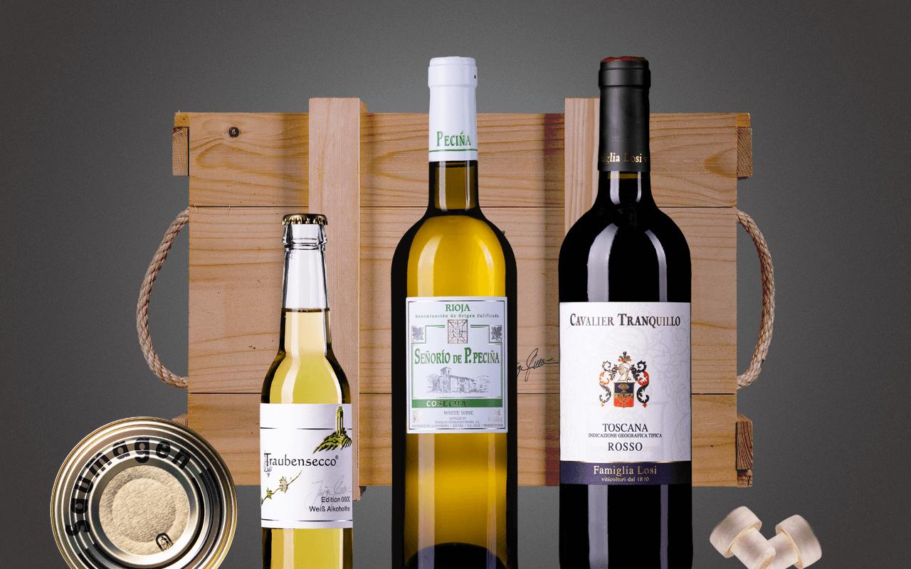 """JTC 3er Holzkiste """"Glücksgefühle für Weineinsteiger"""" als Präsent verpackt (Abholpreis Vinothek)"""