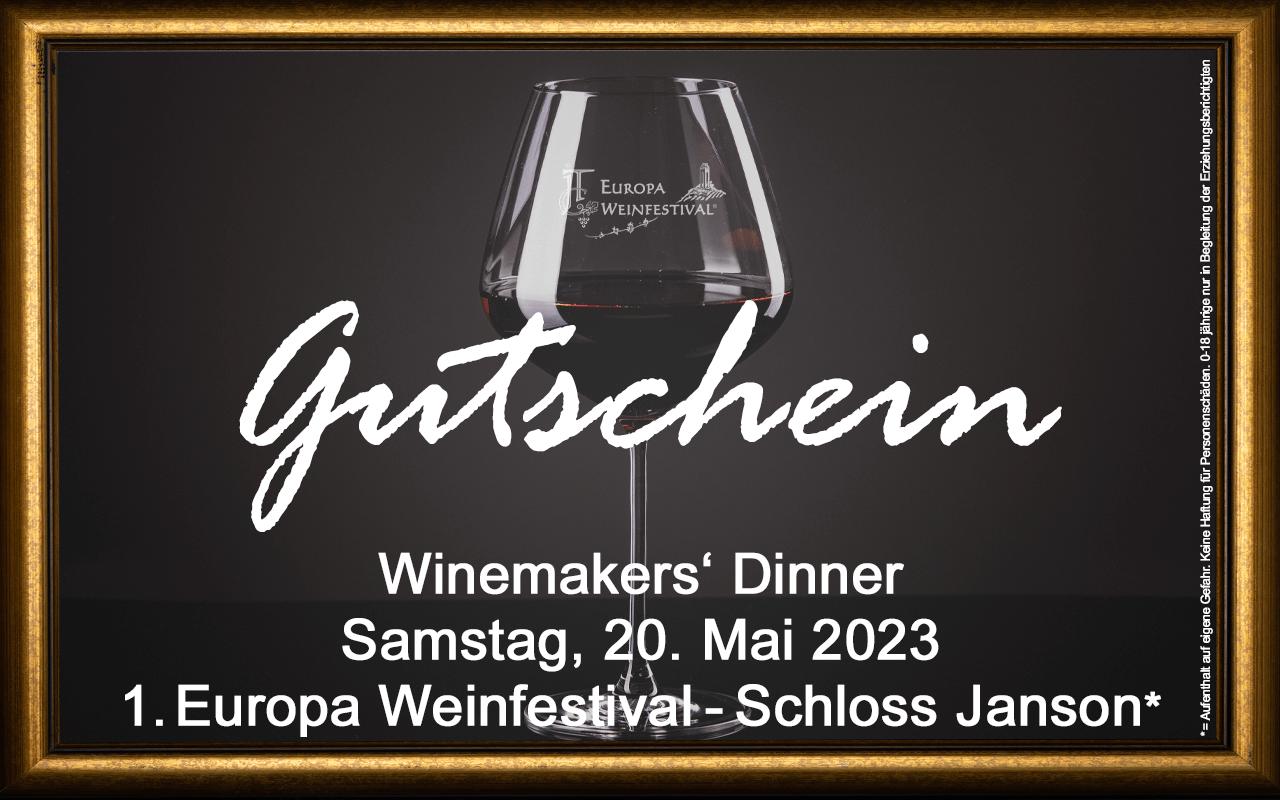 Weinfestival Winemakers' Dinner 20.05.2023 (Sa.) Messe-Gutschein Schloss Janson