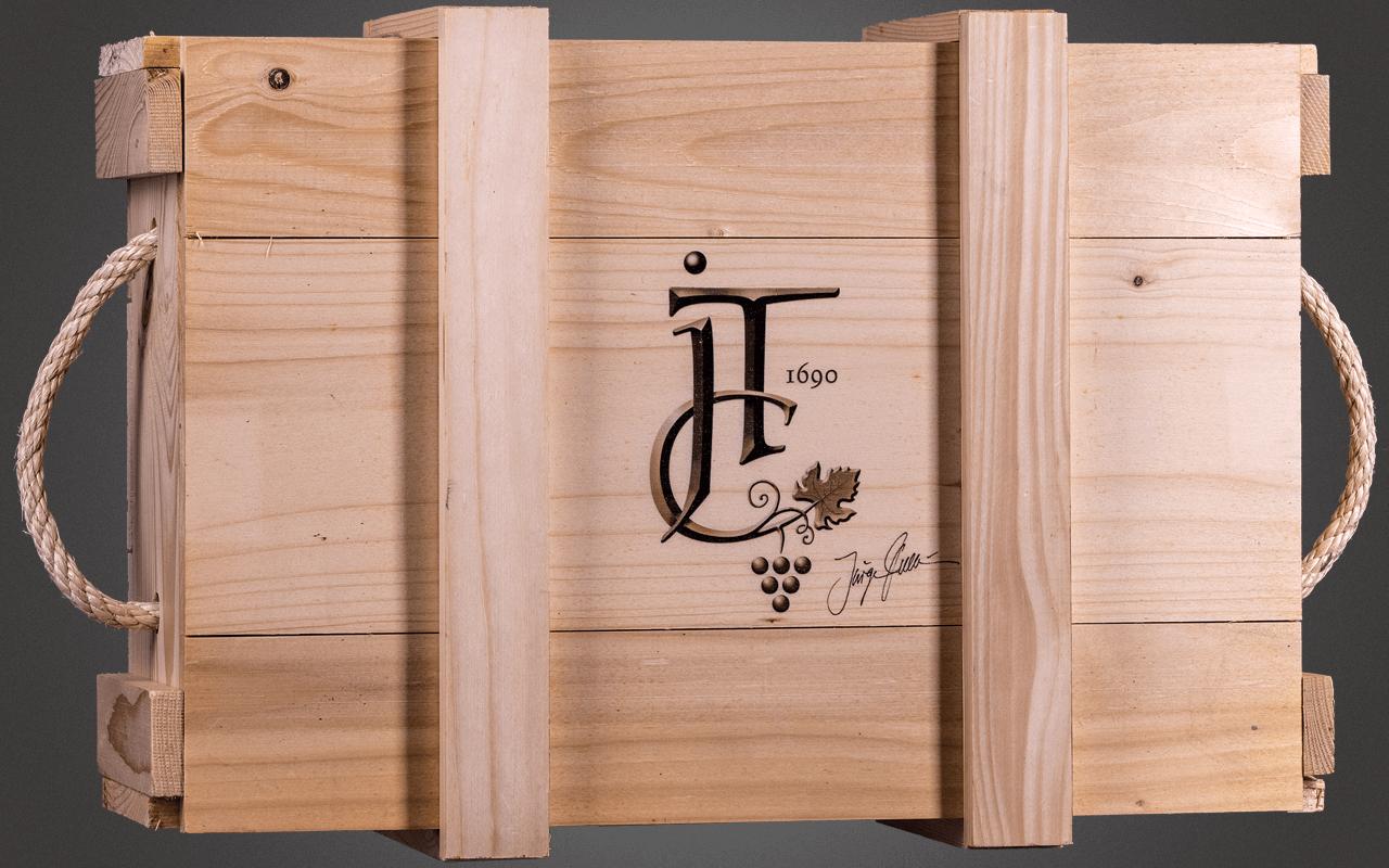 JTC unbefüllte 3er Holzkiste - inklusive Holzwolle und Deckel mit Sommelier-Logo