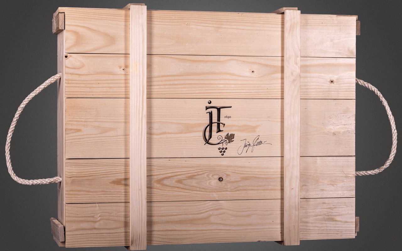 JTC unbefüllte 6er Magnum-Holzkiste - inklusive Holzwolle und Deckel mit Sommelier-Logo