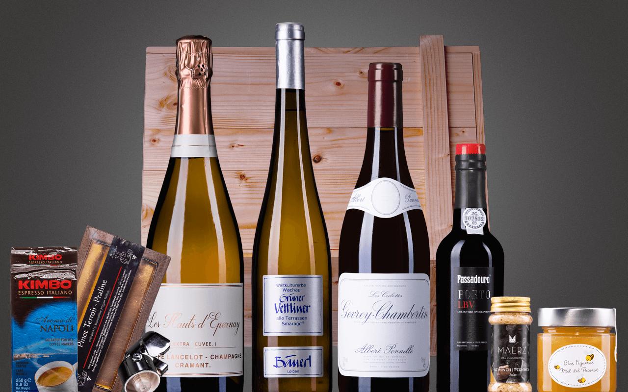 """Holzkiste 6er """"Best of Weinbibliothek für Enthusiasten"""" Präsent mit Schiebedeckel (Abholpreis Vinothek)"""