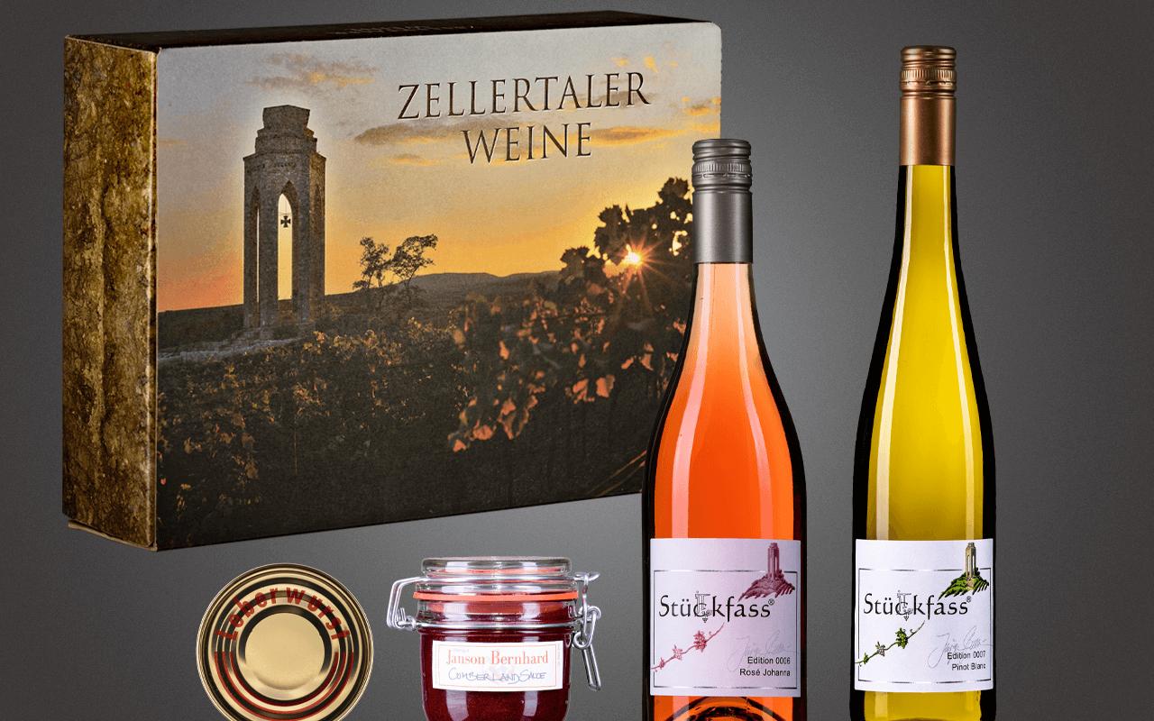 """JTC Zellertal-Genießerbox """"Pinot, Rosé, Lewwerworscht und Cumberland-Sauce"""" Präsent zum Abholpreis"""