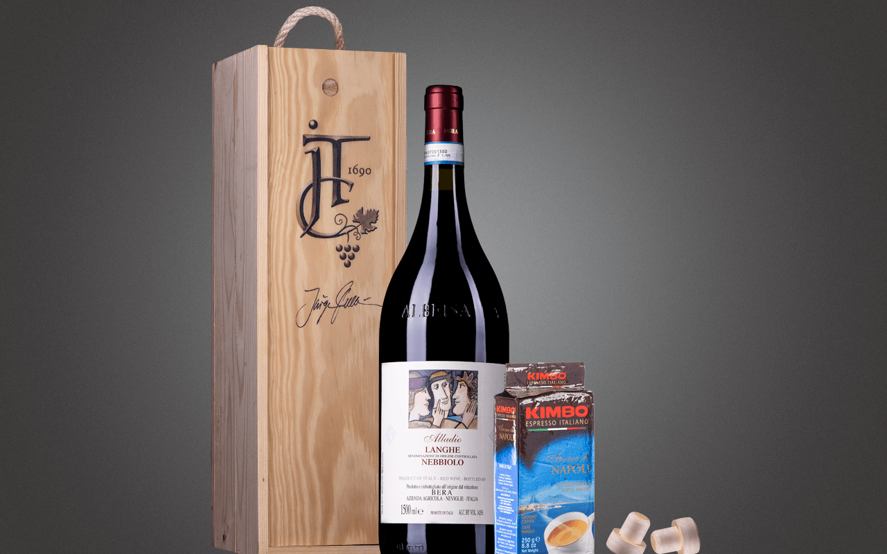 """JTC 1er Magnum-Holzkiste """"Piemont Nebbiolo mit Espresso"""" als Präsent verpackt (Abholpreis Vinothek)"""