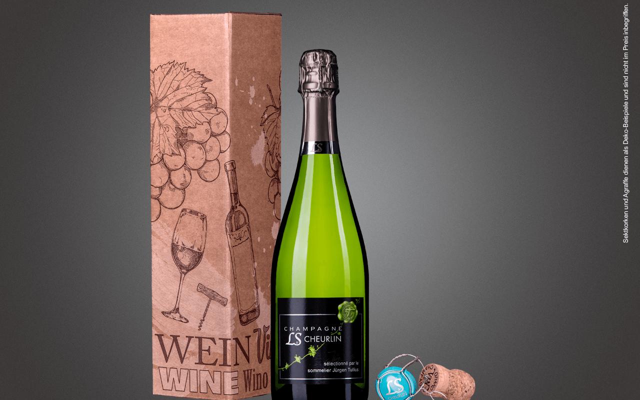 "JTC 1er Karton ""Champagner-Flasche Weiß"" als Präsent verpackt (Abholpreis Vinothek)"