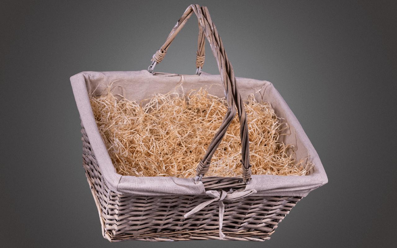 Präsentkorb solo - unbefüllt handgeflochten aus gekalkter Weide