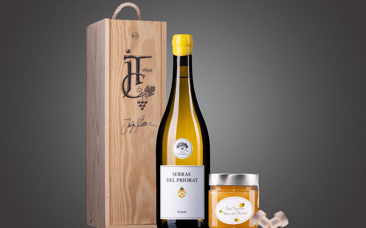 """JTC 1er Holzkiste """"Weißer Bio-Priorat mit Priorat-Honig"""" als Präsent verpackt (Abholpreis Vinothek)"""