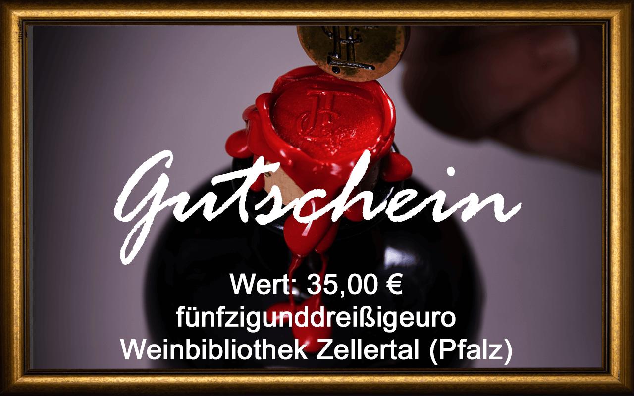 Wein-Gutschein 35,00 € Weinbibliothek Zellertal (Pfalz) Sommelier Jürgen Tullius