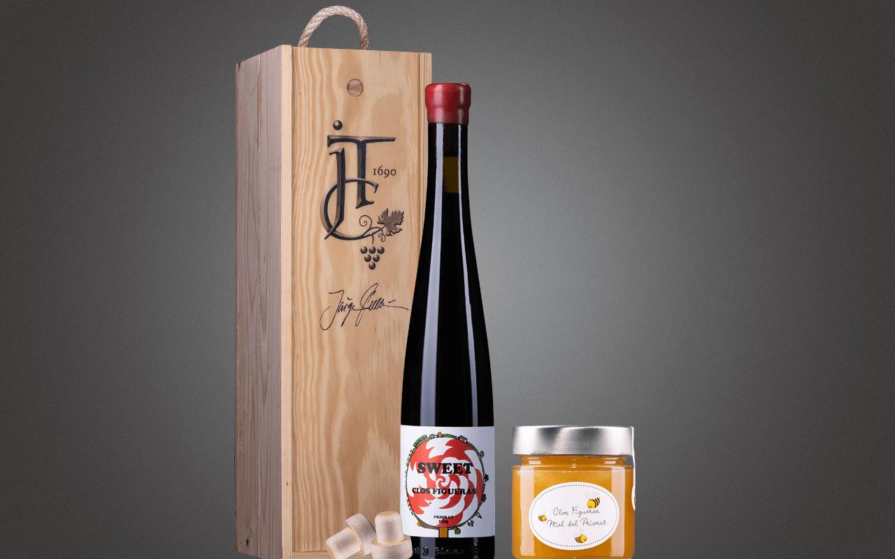 """JTC 1er Holzkiste """"Priorat-Süßwein mit Priorat-Honig"""" als Präsent verpackt (Abholpreis Vinothek)"""