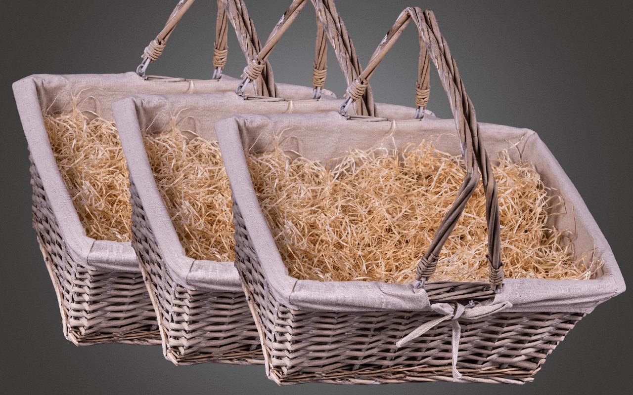 Präsentkorb Dreier-Set unbefüllt - handgeflochten aus gekalkter Weide