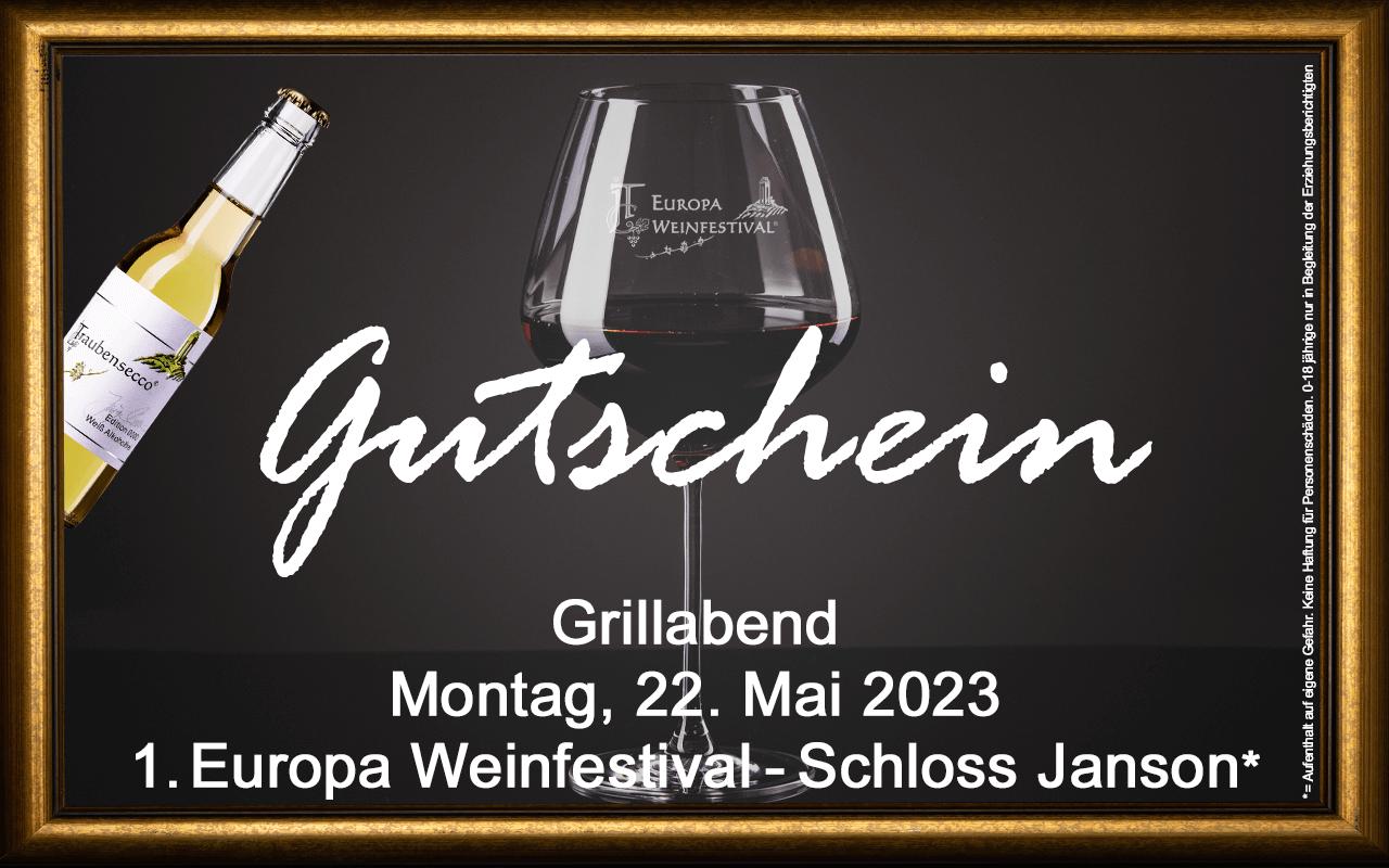 Weinfestival Grillabend 22.05.2023 (Mo.) Messe-Gutschein Schloss Janson
