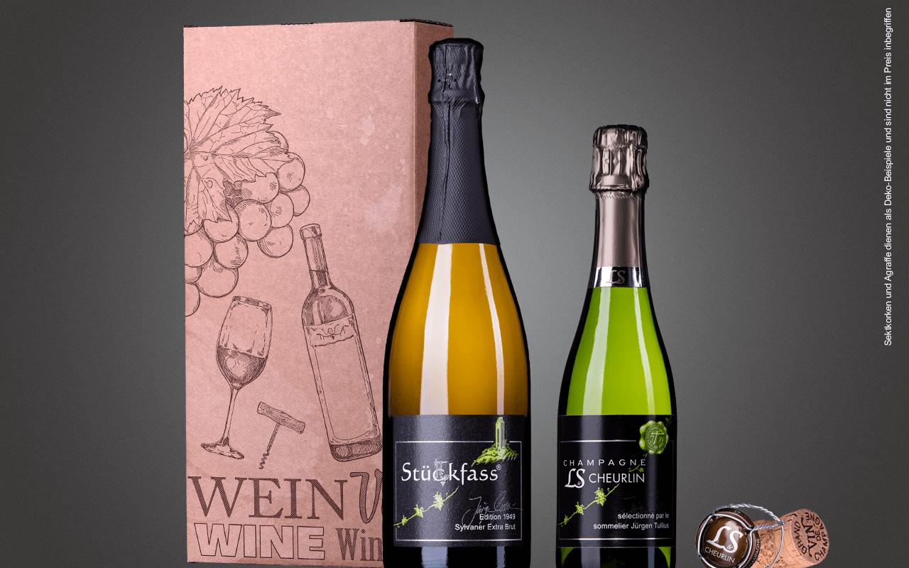 "JTC 2er Karton ""Sylaner Sekt Zellertal trifft Champagner"" als Präsent verpackt (Abholpreis)"