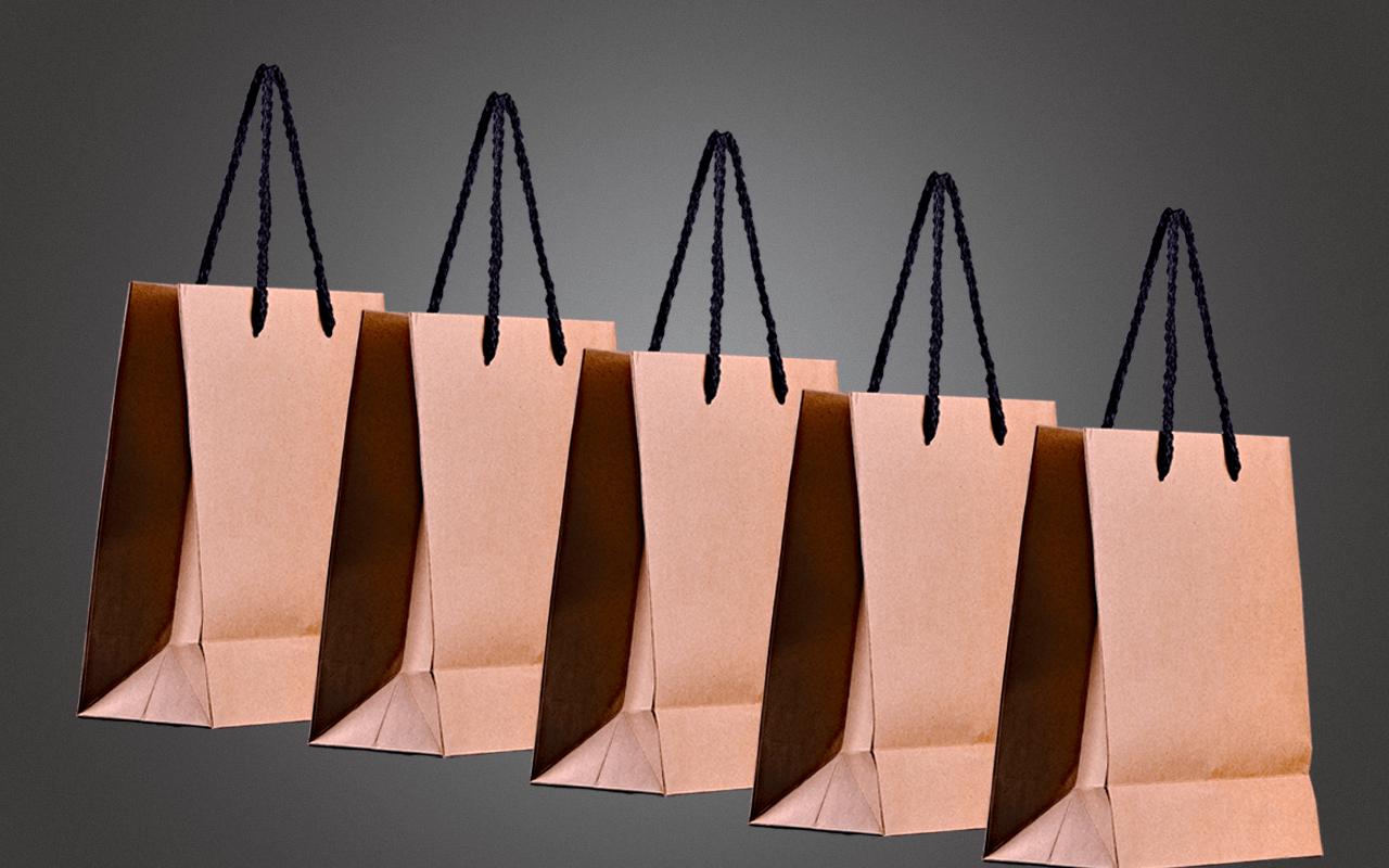 JTC Fünferset Minitasche - aus stabilem Naturkraftpapier mit schwarzen Seilgriffen (Präsent)