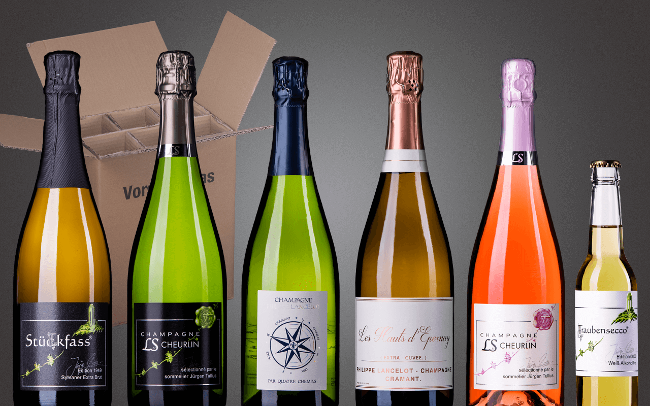 """Probierbox 6er """"Champagner - sein Prickeln verzaubernd die Zunge"""" (Abholpreis)"""