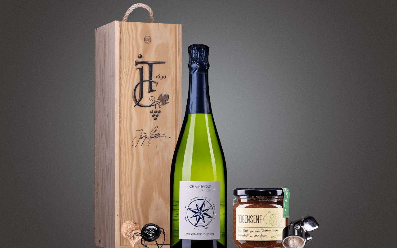 """JTC 1er Holzkiste """"Grand Cru Champagner mit Feigensenf"""" als Präsent verpackt (Abholpreis Vinothek)"""