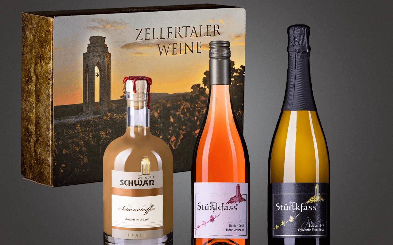 """JTC Zellertal-Genießerbox """"Schwankaffee, Rosé und Sylvaner Sekt Extra Brut"""" Präsent zum Abholpreis"""
