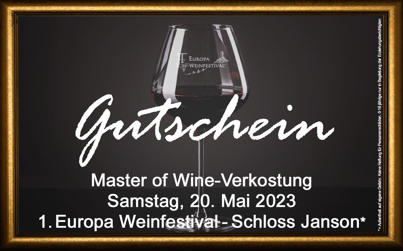Weinfestival Master of Wine Verkostung 20.05.2023 (Sa.) Messe-Gutschein Schloss Janson