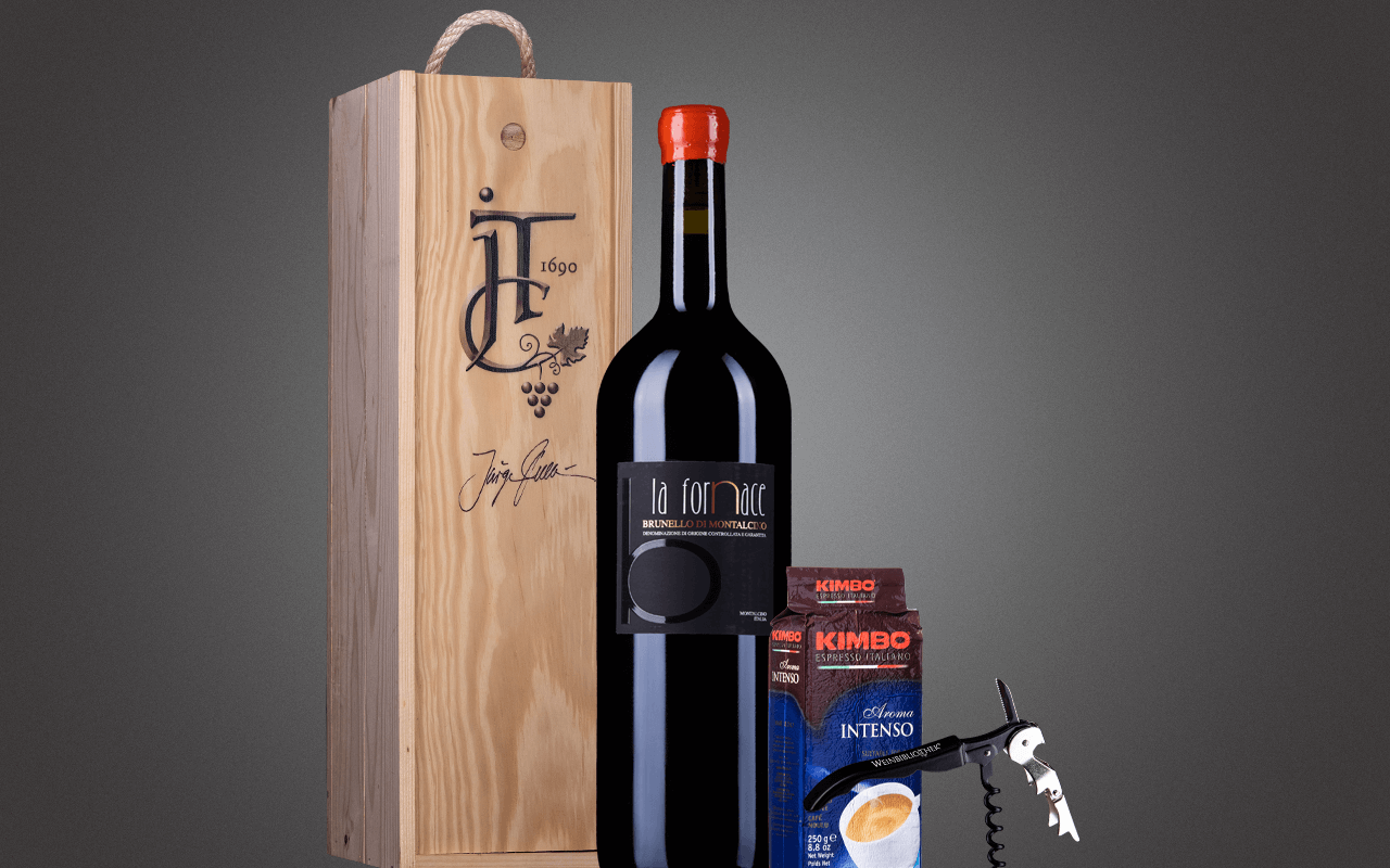 "JTC 1er Doppelmagnum-Holzkiste ""Toskana Brunello mit Kaffee"" als Präsent verpackt (Abholpreis Vinothek)"