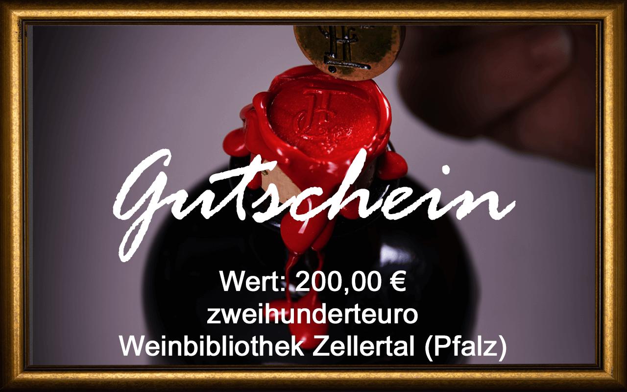 Wein-Gutschein 200,00 € Weinbibliothek Zellertal (Pfalz) Sommelier Jürgen Tullius
