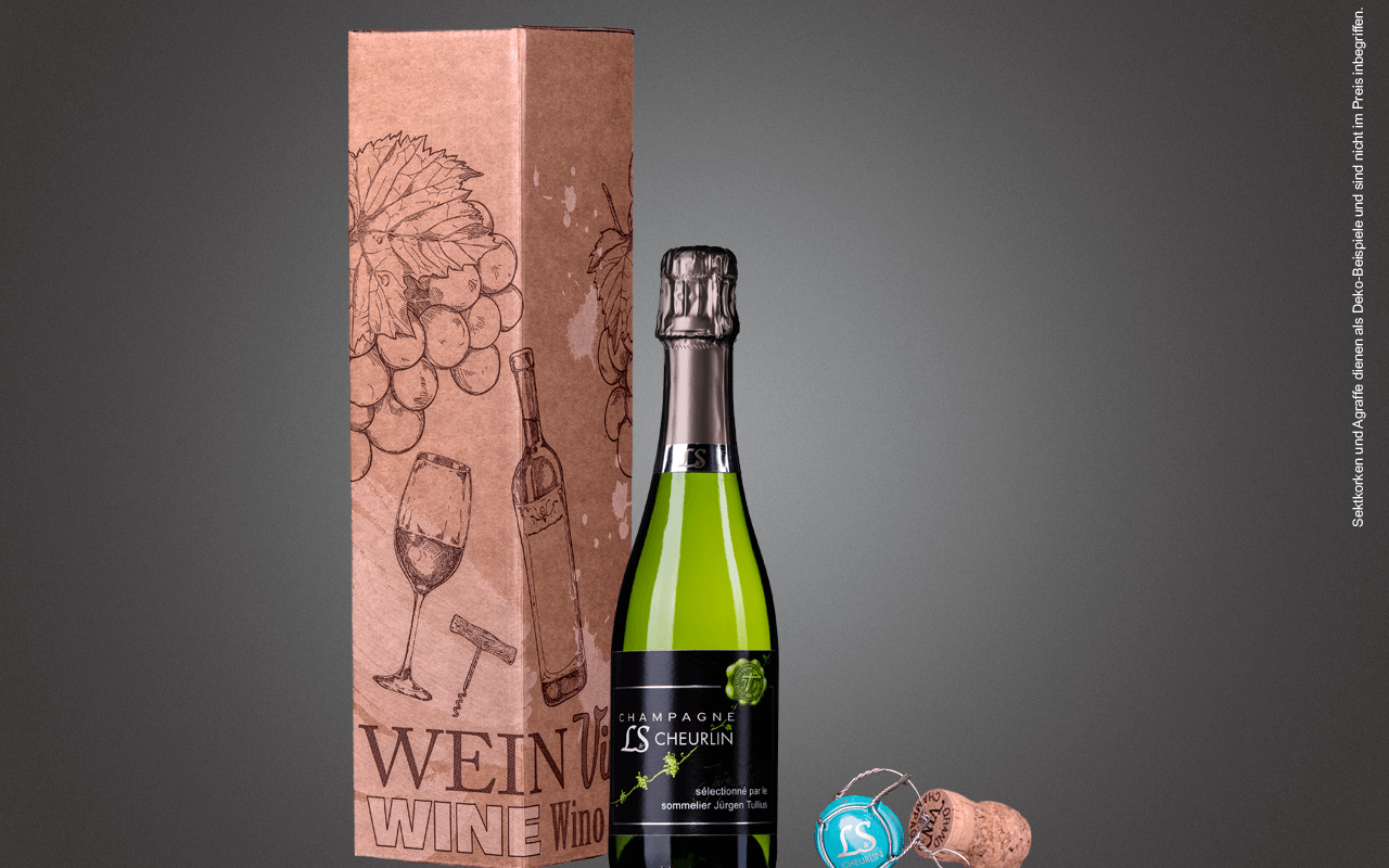 """JTC 1er Karton """"Kleine Champagner-Flasche Weiß"""" als Präsent verpackt (Abholpreis Vinothek)"""