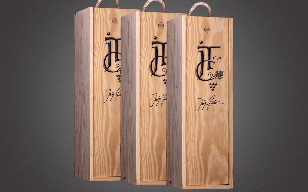 JTC Dreierset unbefüllte 1er Holzkiste - inklusive Holzwolle und Deckel mit Sommelier-Logo