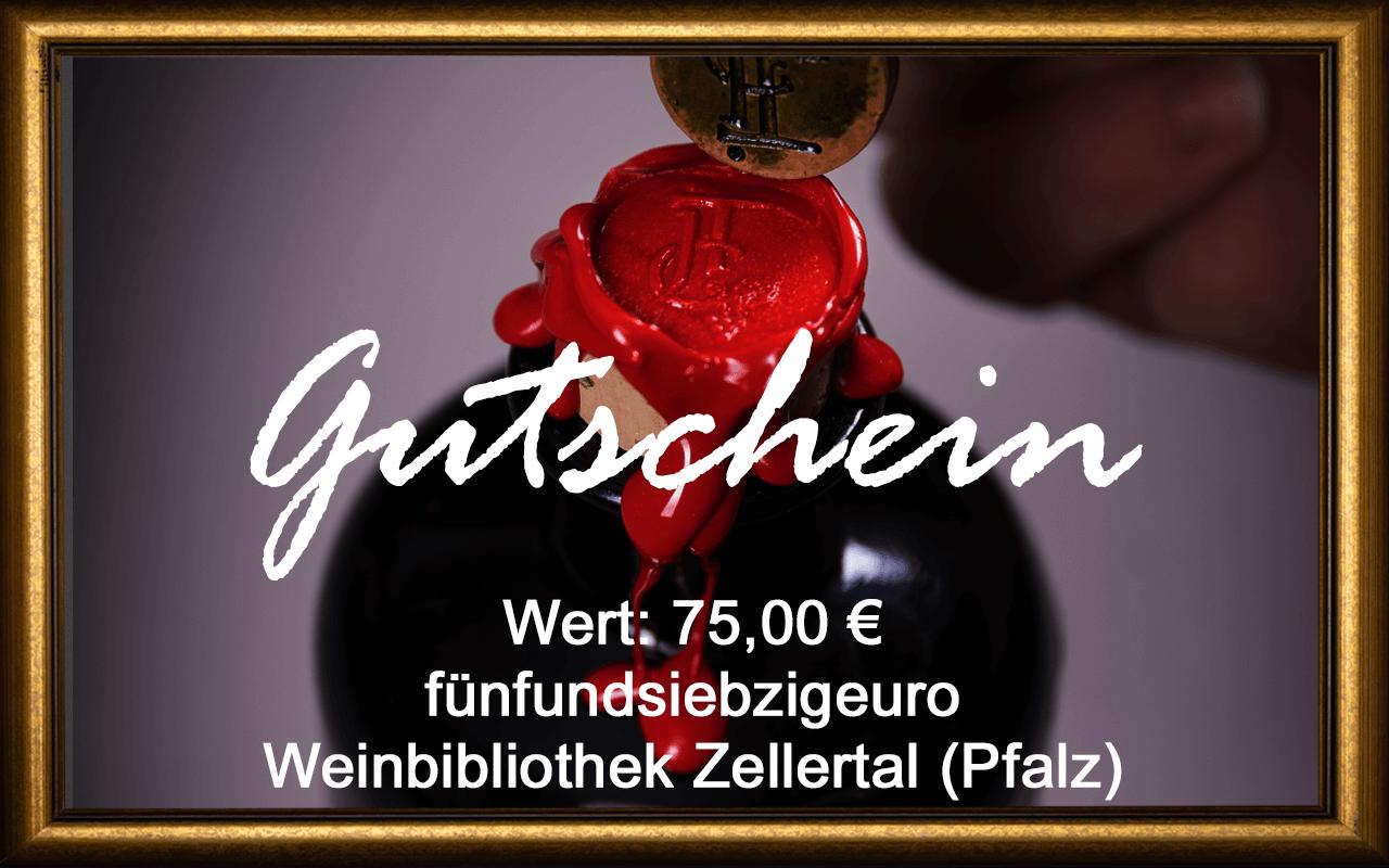 Wein-Gutschein 75,00 € Weinbibliothek Zellertal (Pfalz) Sommelier Jürgen Tullius