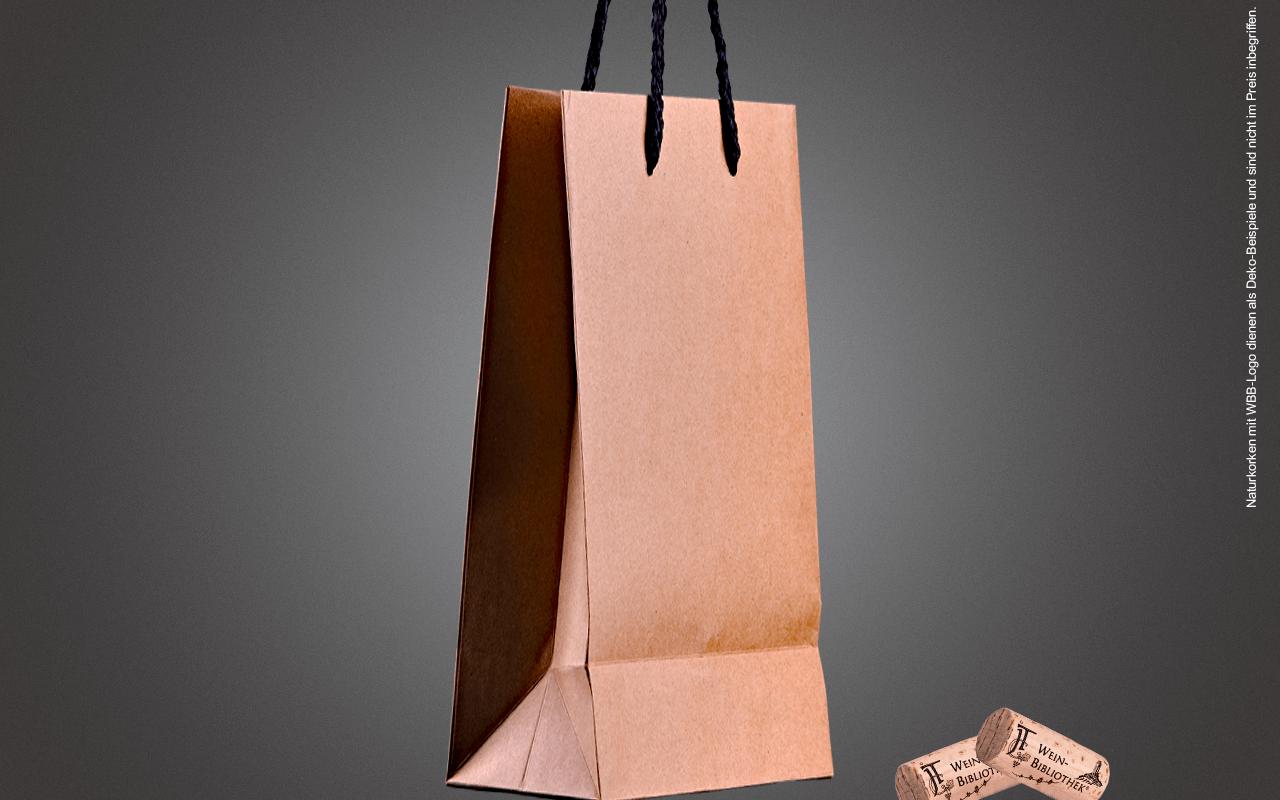 JTC 2er Präsenttasche solo - aus stabilem Naturkraftpapier mit schwarzen Seilgriffen