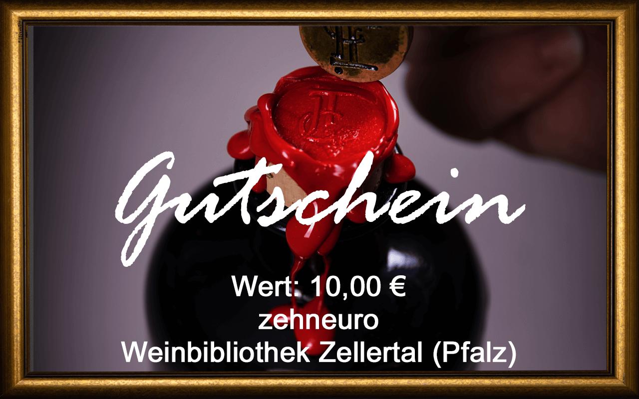 Wein-Gutschein 10,00 € Weinbibliothek Zellertal (Pfalz) Sommelier Jürgen Tullius